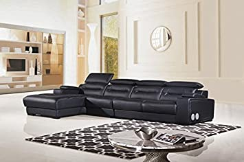 3pc Speaker/Bluetooth Adjustable Sectional Leather Sofa Set - AM-L685-BK