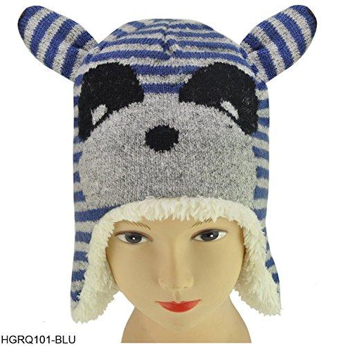 Saute Styles -  Berretto in maglia  - Donna Blue Animal Panda Bear Face Hat Taglia unica