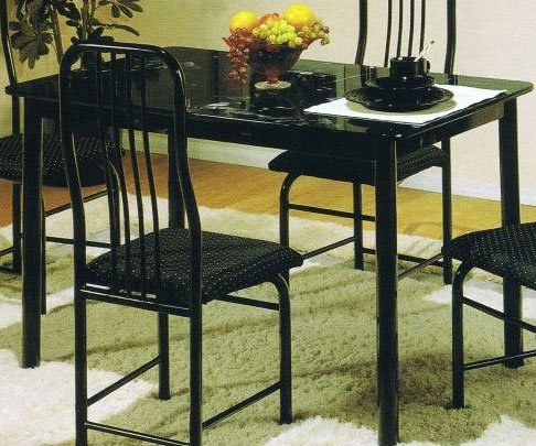 Marble Pattern Top Black Metal Frame Dining Room Table