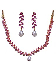 Alluring Pearl & Ruby Stone Studded Necklace & Earring Set