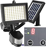 80 LED Outdoor Solar Motion Light +++ Digitally Adjustable TIME & LUX +++ 2-Axis Adjustable Solar Lamp +++ 2-Axis Adjustable Motion Sensor +++ Lithium Battery
