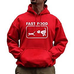 Nutees Fast Food Dog Chasing Cat Funny Unisex Hoodie - Red