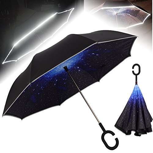 NEWBRELLAs Unique Inverted Wet Drip Free Vehicle Reflective Safety Car Umbrella - Self Stand Umbrellas