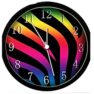glow in the dark wall clock rainbow zebra