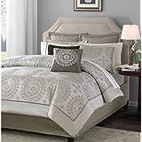 Madison Park Tiburon 12 Piece Jacquard Comforter Set, California King, Tan