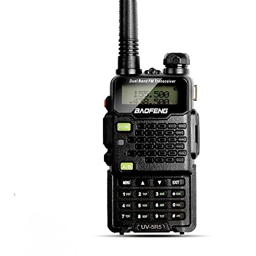 [Avec la fonction de lampe de poche] AGPtek 2015 Baofeng UV-5R5 Dual Band UHF / VHF 5W talkie walkie émetteur-récepteur Radio avec Ecouteur Double Radio Band 136-174/400-470MHz (une pièce) (Noir)