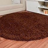 Havatex: Shaggy Hochflor Teppich Fluffy braun rund / Geprüfte Qualität / Flormaterial: 100 % Polypropylen / In verschiedenen Größen erhältlich