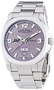 Armand Nicolet Unisex Automatic Watch with Grey Dial Analogue Display and Silver Stainless Steel Bracelet 9650A-GR-M9650