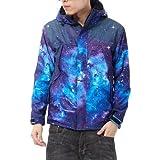 Zero Mens Galaxy Digital Print Thick Coat