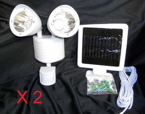 2 Sets Of 22 Led Outdoor Solar Powered Floodlight Motion Sensor Security Light White Color Body + Duracell Aaa Batteries X4 For Free (Batteries Are Brand New But Loose From Bulk Package Expired In 2019)
