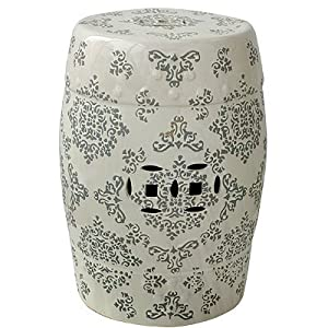 "Porcelain Garden Stool Gray On Cream 12.5""x19"""