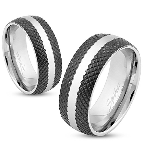 STR-0326 Stainless Steel Cross-Etched Black IP Ring with Center Strip (11)