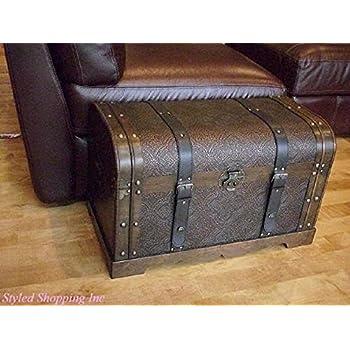 Antique Victorian Wood Trunk Wooden Treasure Hope Chest -- Medium Size