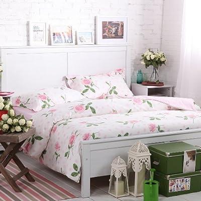 Sisbay Pink Rose Garden Bedding,French Rural Flower Duvet Cover,Girls Polka Dot Korean Bed Set,Queen King Size,4pcs by Norson bedding set