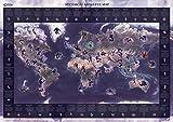 Mapa de monstruos míticos - Póster ilustrado de los monstruos legendarios del mundo