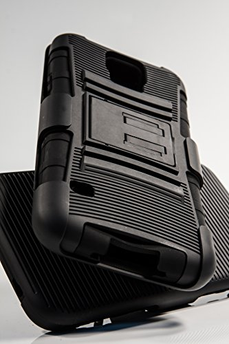 Shockwize (Tm) Stealth Series Samsung Galaxy S5 Black Shell Holster Armor Protector Cover Case Tri-Layer Shock Absorbing Rigid Hybrid Dual Kickstand With Locking Swivel Belt Clip (All Providers) (Black)