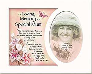 Memory Mounts Memorial In Loving Memory Of A Special Mum Mount And Poem For A Photo Frame 10 x 8 Inch