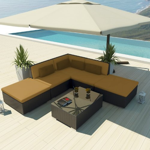 Uduka Outdoor Sectional Patio Furniture Espresso Brown Wicker Sofa Set Porto 6 Dark Beige All Weather Couch image
