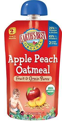 Earth's Best Organic Stage 2, Apple, Peach & Oatmeal, 4.2 Ounce Pouch (Pack of 12) - 1