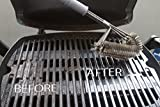 """BEST BBQ Grill Brush 18"""" LONGER HANDEL TRIPLE 3-1 Stainless Steel Wire NEW DESIGN front bent for safe cleaning Weber-Big Green Egg-Char Broil- SAFE on all Grills Grates surfaces 100% Guarantee"""