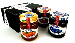 Hero Premium Fruit Spreads 3-Flavor Variety: One 12 oz Jar Each of Blueberry, Strawberry, and Apricot Fruit Spreads in a Gift Box