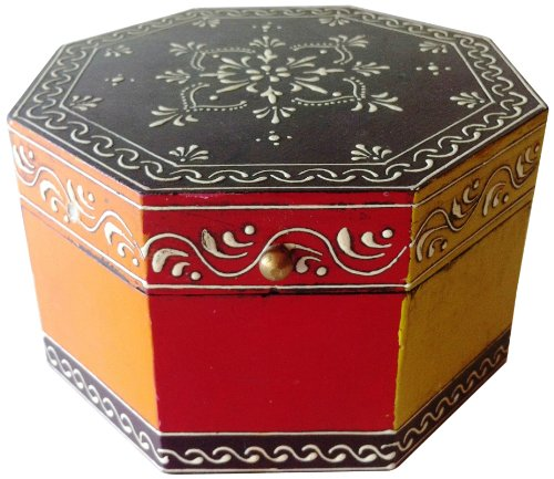 Mg Decor Hand-Painted Flower Design Octagonal Gift/Jewelry Box, 6-Inch Diameter front-5635
