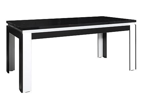 Kuchentisch 180x90 cm MDF, Farbe: Schwarz / Weiß