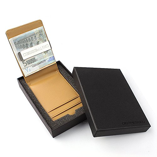 Kreditkartenetui mit Edelstahl Geldklammer/Geldscheinklammer in Geschenkverpackung - beige