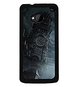 Fuson Premium 2D Back Case Cover Clock tower With white Background Degined For HTC One M7::HTC M7