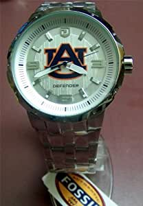 Auburn Tigers Fossil Silver Large Logo Watch Mens