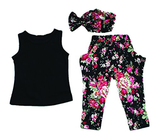 Happy Kid Girls Sleeveless Tank top Floral Pants and Scarf 3pcs Set