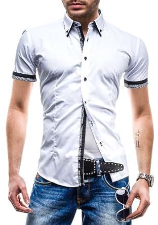BOLF - Chemise casual - à manches courtes - MODELY 1CT - Homme - 3XL Blanc-Noir [2B2]