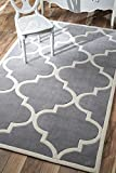 nuLOOM ACR129A-508 Cine Collection Contemporary Fez Hand Made Trellis Area Rug, 5-Feet by 8-Feet, Slate