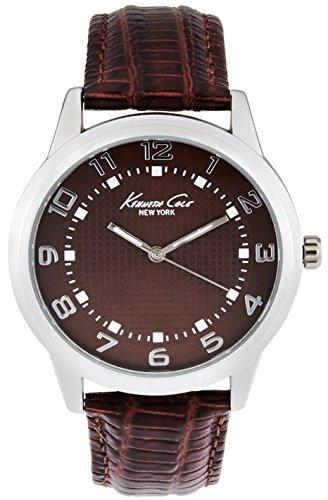 Kenneth Cole uomo in pelle marrone band orologio analogico al quarzo acciaio custodia 10014651