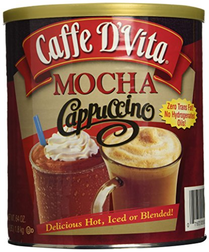 Caffe D'Vita Mocha Cappuccino Hot or Cold Cappuccino Mix 64 Oz
