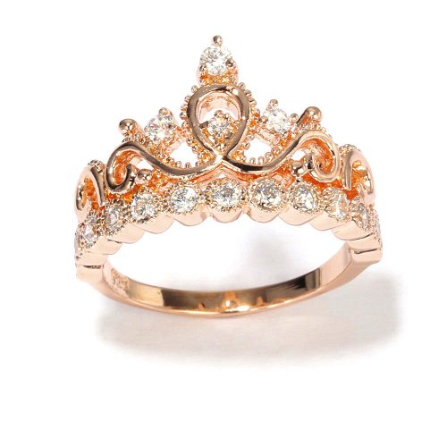 Sterling Silver Crown Ring Princess Ring Rose Gold
