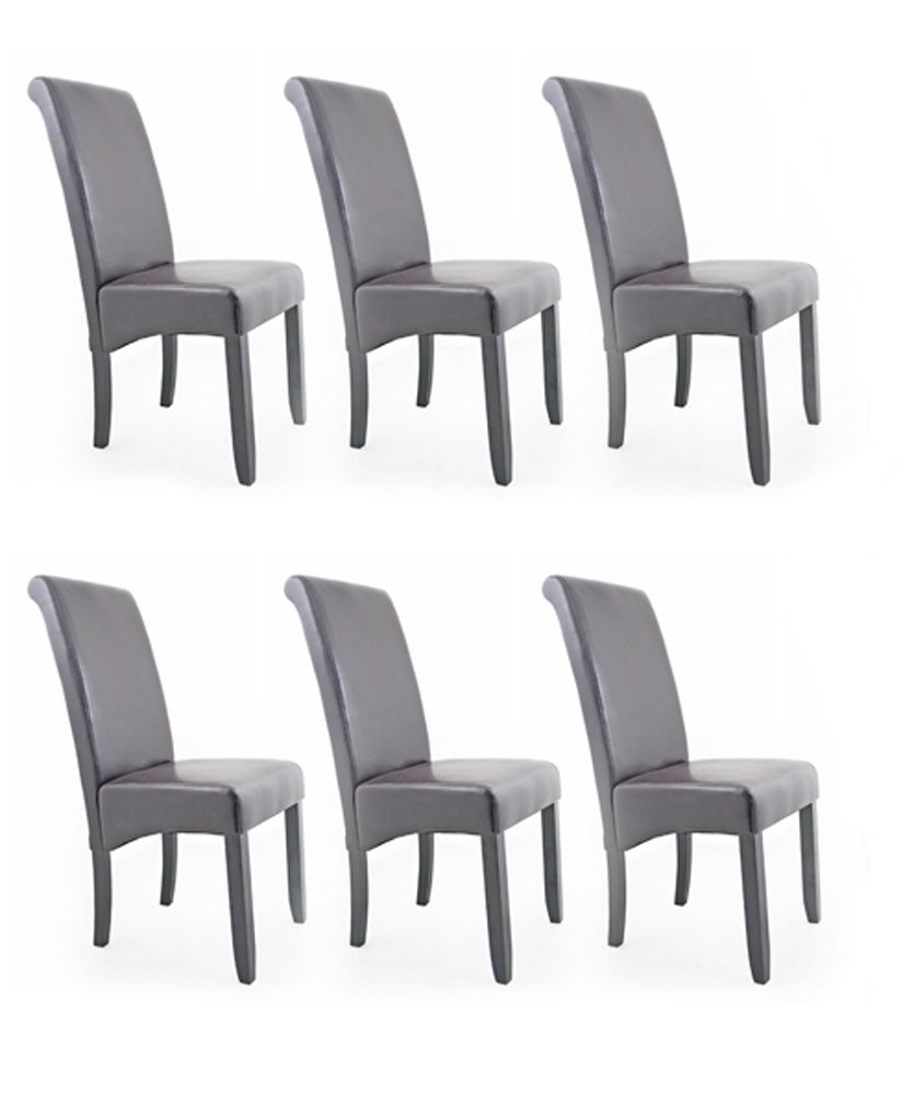 Contemporary Faux Leather Dining Room Chair   Brown   Set Of 6       Customer reviews and more information