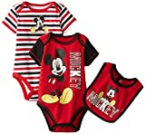 Disney Baby Baby-Boys Newborn Mickey Mouse 3 Piece Bodysuit Set