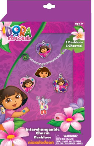 Dora the Explorer Interchangeable Charm Necklace Set with ADORABLE Necklace and 5 Charms - 1