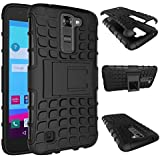 LG K10 Case, Ziaon Flip Kickstand Rugged Dual Layer Black Hybrid Case For LG K10 With Free Screen Guard