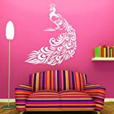 Huge Peacock Bird Wall Transfer / Large Vinyl Decal / Big Bird Wall Transfer bn5