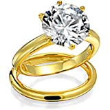 Bling Jewelry Round 3.5ct Solitaire CZ Gold Plated Engagement Wedding Ring Set