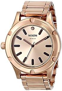 Nixon A037897-00 - Reloj cronógrafo de cuarzo unisex con correa de acero inoxidable, color dorado