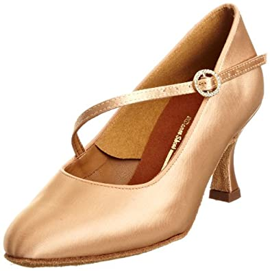 International Women's ICS Round Toe Single Strap Diamante Flesh Satin Dance Shoe INUFT0340 5 UK