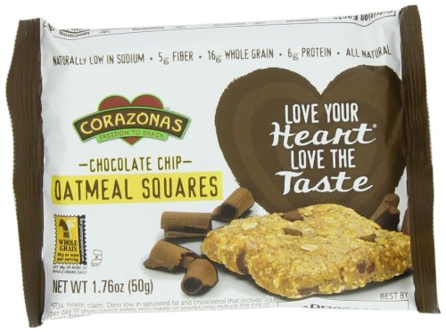 Corazonas Oatmeal Squares, Chocolate Chip, 12 - 1.76-Ounce Bars