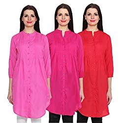 NumBrave Pink, Magent & Red Long Cotton Top (Pack of 3)