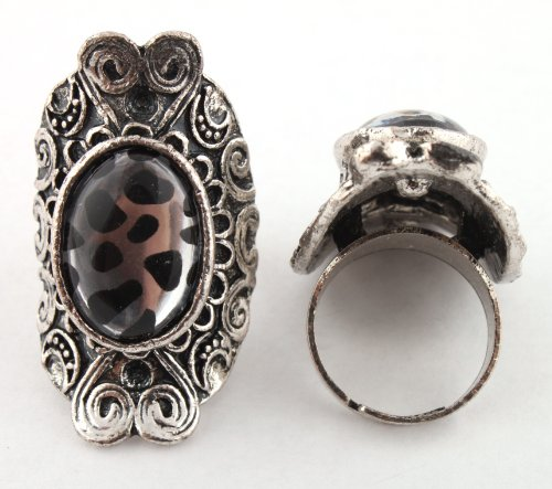 Ladies Silver Antique Style with Cheetah Print Oval Center Metal Adjustable Finger Ring