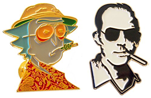 [Hunter S Thompson Lapel Custom Pin Set of 2] (Weed Bag Costume)