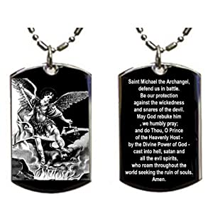 St michael pendant necklace patron saint medal jewelry prayer st michael archangel aloadofball Images