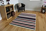 "Cheap Cream, Red & Navy Blue Stripe Contemporary Area Rug 1114-X44 - 5'3"" x 7'7"""